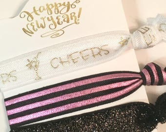 Happy New Year/Holiday Hair Elastics/Cheers/ask bridesmaids