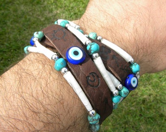 Double Wrap cuff shaman  bracelet wristband  genuine good luck Native Indian symbols shells turquoise evil eye protection  Bison leather
