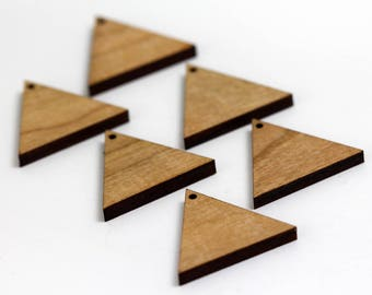 6 Equilateral Triangle Blank Beads : Cherry Plywood