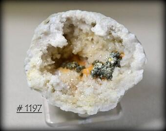 RARE.  Nice Quartz Keokuk Geode Half, with Golden Chalcopyrite, Metallic Sphalerite, and Orange Ferroan Dolomite Secondary Mineralization!