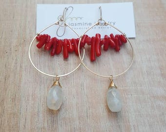 Gold Hoops detailed with a cluster of Red Coral and a wire-wrapped Moonstone drop.
