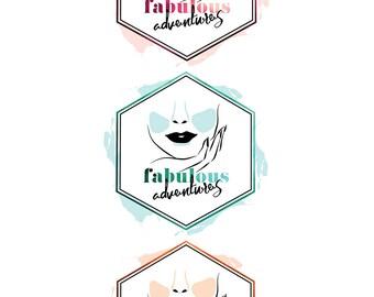 Premade Fashion Logo Design   Pink Teal Orange Logo   Fashion Blog Logo   Beauty Logo Design   Beauty Blog Logo   Wordpress Theme Logo
