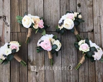 Beige Bouquet, Boho Bouquet, Bridesmaid Bouquet, Blush Bouquet
