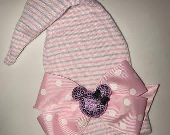 Newborn Hospital Hat. Pink/Lavender Stocking Newborn Hospital Hat with Pink Polka Dot Bow and Lavender Mouse Baby's 1st Keepsake!
