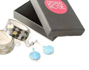 Dark Blue drop earrings, lightweight earrings, gift for mum, colourful jewellery, paper jewellery, sterling silver earrings, resin earrings