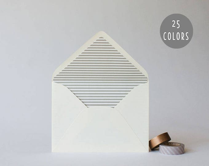 thin horizontal stripe lined envelopes (25 color options) - sets of 10  // modern envelope liners wedding shower party invitation invite