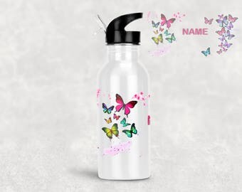 Personalised Stainless Steel Water Bottle - BUTTERFLY
