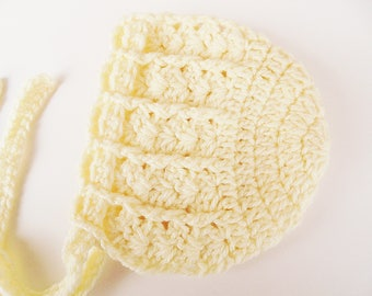Baby girl bonnet Crochet baby bonnet Newborn bonnet Cream baby bonnet Newborn girl hat Crochet baby hat Hospital hat Newborn girl outfit