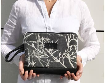 Forest Clutch, Grey Purse, Bag For Kindle, Trees Print Clutch, Leather Clutch, Earth Clutch Purse, Zipper Pouch, Gift for Her