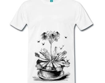 Venus Fly Trap Plant Botany Insect Mens Ethically Produced Cotton T-Shirt *White, Steel Blue, Heather Blue Or Grey* Sizes S-5XL. Plus Sizes.