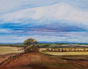 Oil Painting Tree On The Hill Scottish Landscape Original Artwork Home Decor Wall Decor Wall Hanging Art 30x40cm