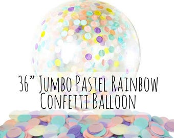 "36"" Extra Large Pastel Rainbow Confetti Balloon, Unicorn Confetti Filled Clear Latex Balloon, Party Decoration, Mermaid Birthday, Photo Prop"