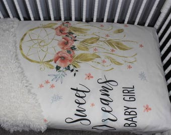 "Dream catcher Baby Blanket, ""Sweet Dreams Baby Girl"", Dreamcatcher Baby Comforter,  Tribal Baby Blanket, Flowers Feathers, Gold Coral blanke"
