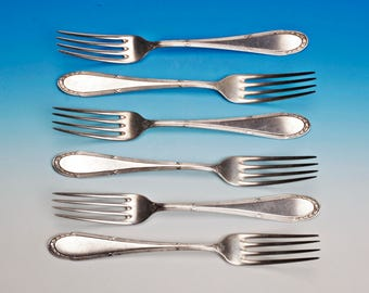 6 Forks Art Nouveau cutlery cross-section Ludwig XVI 6 starter forks, dessert forks, Bouquet brand WMF 200 from 1911 silver plated