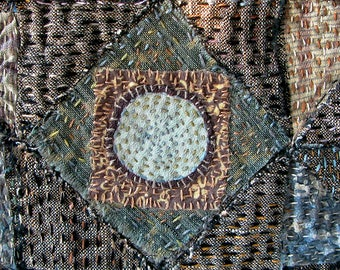 Little Art Quilt - Moon Star - 4x6 note card - image of heavily stitched art quilt in blue, grey, and taupe vintage linen and kimono scraps