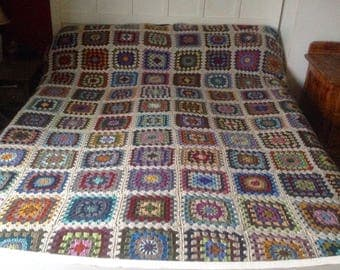 King Size Crochet Blanket. Multi Coloured Granny Square Afghan. Unique Handmade Bed Cover.