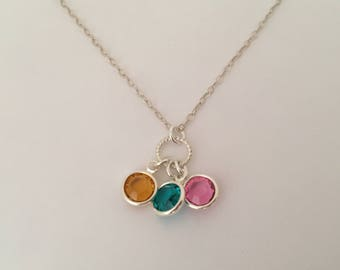 Sterling silver Birthstone necklace, family jewelry, gift for mom, grandma gift