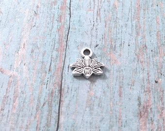 15 Tiny Lotus flower charms (2 sided) antique silver tone - silver lotus pendants, floral charms, yoga charms, silver Ohm pendant, BX