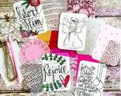 Deconstructed Scrappy Christmas Journal Paper Bits Art Print Foil Vellum Acetate Gold Pink Insert Book Christian Angel Ribbon Velvet Doily