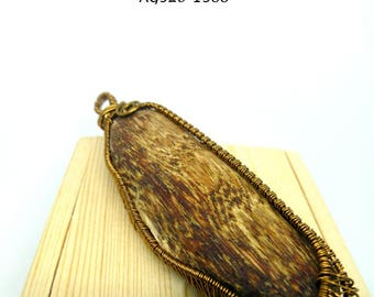 Natural Agarwood Copper Wire Wrap Pendant 6.9g Handmade, Oud, Necklac, Collectable, Spiritual