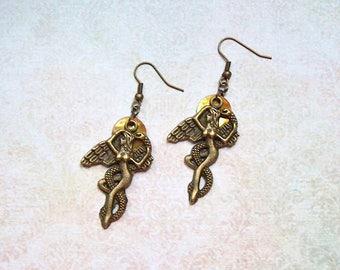 "Earrings ""Goddess of the Sun"" Bronze colors vintage"