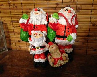 Vintage Papier Mache Santas  - 4 Festive Dudes
