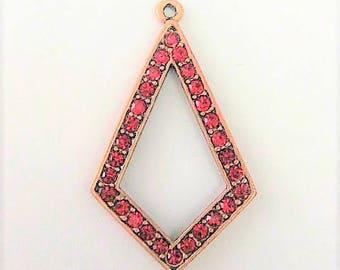 Jewelry Supplies ~  Brass Pendant   Red rhinestones   36mm