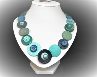 Button necklace - Ocean blues. Gift for Mom, Statement necklace, Mothers Day,  gifts for her, handmade, OOAK, unique gift, boho necklace