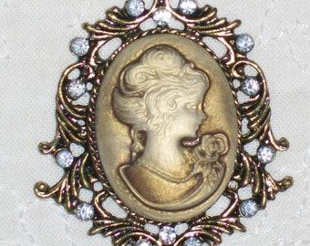 Vintage Victorian cameo necklace bronze and transparent rhinestones fashionable handmade