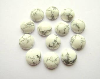 2 White Howlite 16 mm Round Cabochons Jewelry making Supplies Natural Stone Cabachons