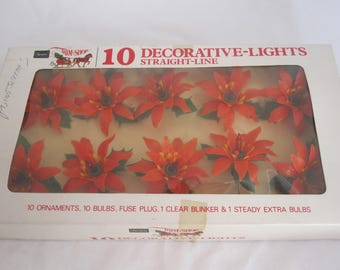 Vintage Poinsettia String Lights