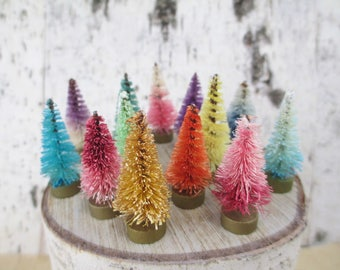 12 Tiny Hand Dyed Bottlebrush Trees for Village or Display Mini Bottle Brush Forest Rainbow Pink Aqua Green Blue Purple Ombre Miniature