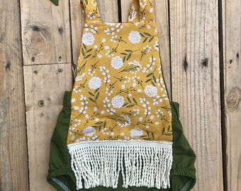 FLAWED!! Olive, mustard, floral, fringe, romper