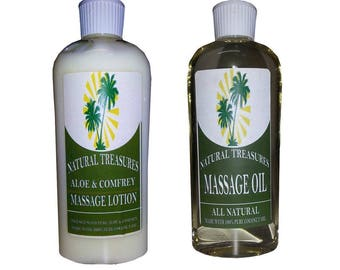 All Natural Massage Oil and Aloe & Comfrey Massage Lotion Combo Pack - 16 ounces x2