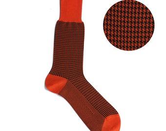 Luxury Houndstooh Mid Calf Dress Casual Mens Socks