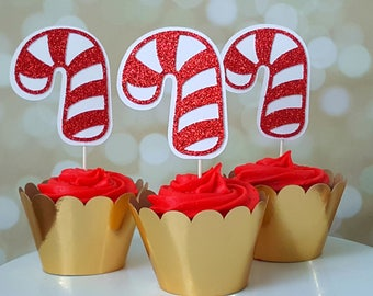 Candy Cane Cupcake Toppers, Christmas Cupcake Toppers, Holiday Cupcake Toppers, Holiday Party Decor, Ugly Sweater Party Decor, Winter Party