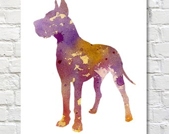 Great Dane Art Print - Abstract Watercolor Painting - Dog  - Wall Decor