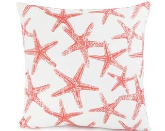CLEARANCE Beach Decor, Nautical Pillow Cover, Choose Your Size, Throw Pillow, Starfish Pillows, Accent Cushion Cover, Eurosham, Lumbar