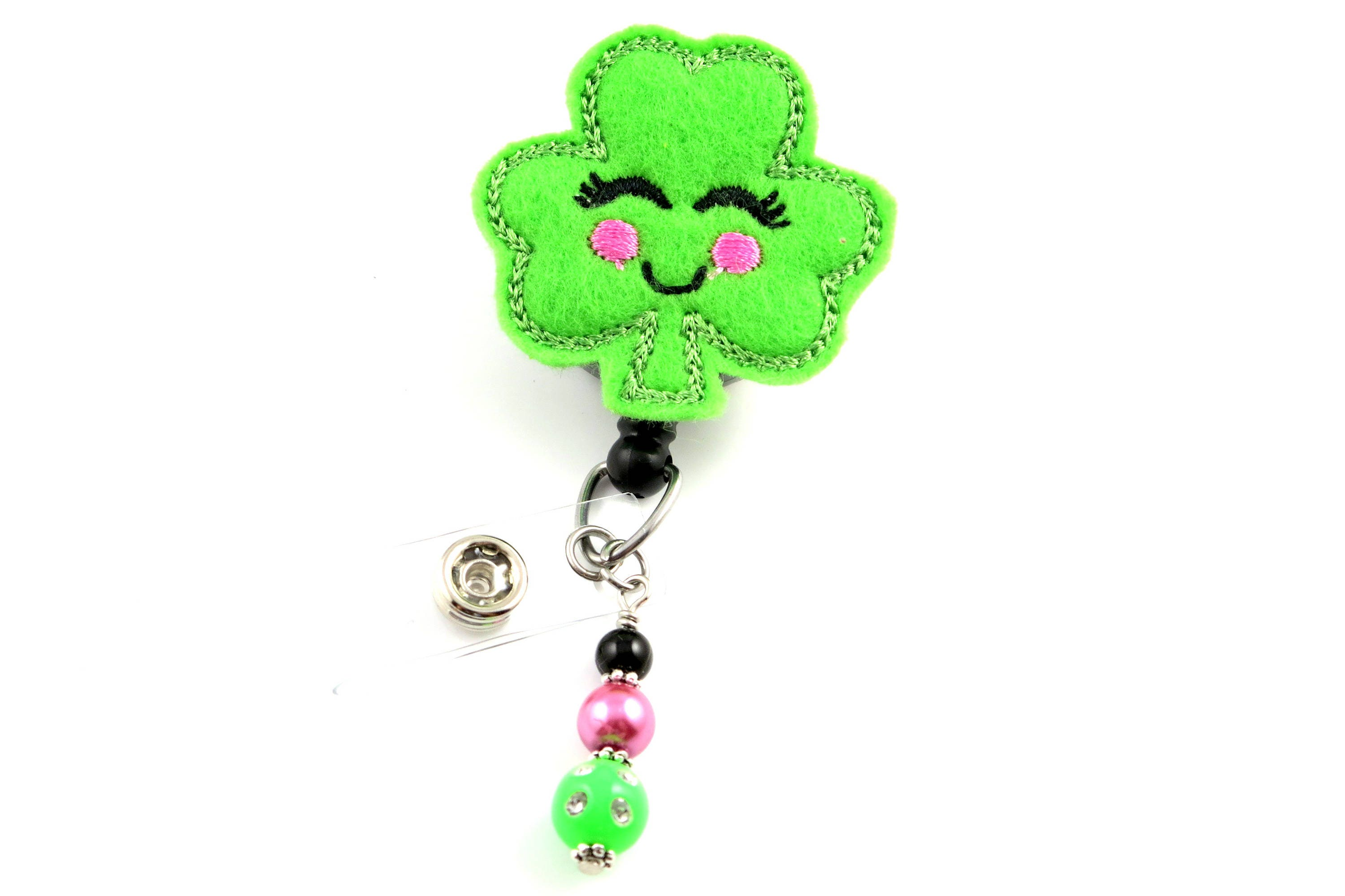 st patricks day clover retractable id badge holder name badge