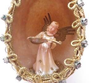 Vintage Christmas Egg Angel Ornament - Angel in Egg Christmas Ornament Diorama