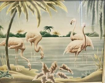 Vtg Mid Century Modern Flamingo Print by Turner, Mirrored Frame 32.5 x 26.5