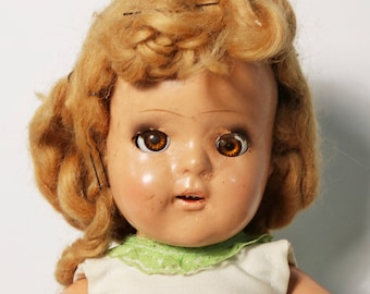 """Antique 1930s Ideal Composition Doll - Sleepy Eyes, 4 Teeth, 18"""" Tall"""