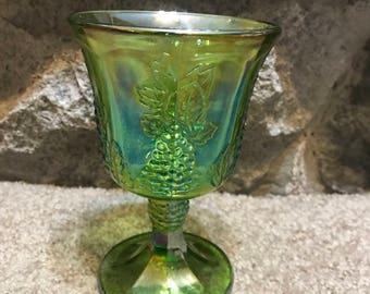 Vintage Indiana Carnival Glass Goblet - Stemmed, Harvest Grape, Green