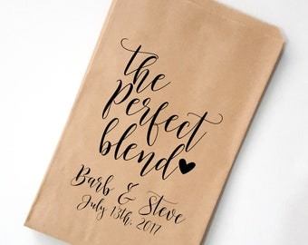 The Perfect Blend Wedding Favor Bag, Coffee FavorBags, Personalized Favor Bags, Rustic Wedding Candy Bar Bags, Custom Wedding Favors