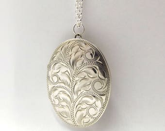 Large Sterling Silver Locket Necklace | Oval Engraved Photo Locket Pendant On A Chain