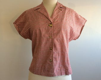 Vintage Gingham short sleeve red and white top
