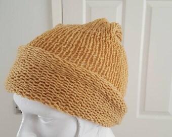 Biscuit beanie hat handmade beanie winter warmer Hand knitted beanie biscuit coloured beanie hat beanie hat biscuit