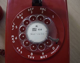 Red Rotary Wall Phone Western Electric Bell System Model 5548MP
