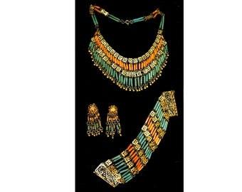 "Vintage necklace, bracelet, clip earrings set from Egypt.  bracelet 7"" x 1.75"", earrings 2.25"", necklace 15"" (request extender if needed)"