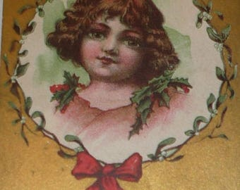 Clearance Sale Angelic-Looking Little Girl Antique Christmas Postcard